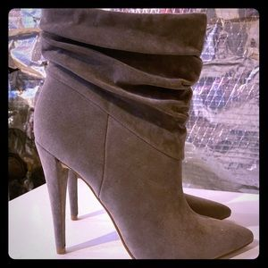 Gray suede stiletto booties